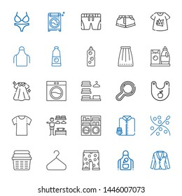 clothes icons set. Collection of clothes with suit, apron, swim suit, hanger, laundry, sewing, suit and tie, washing machine, dressing room. Editable and scalable clothes icons.