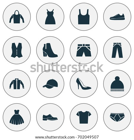 e23913a8 Clothes Icons Set. Collection Of Trilby, Beanie, Waistcoat And Other  Elements. Also Includes Symbols Such As Briefs, Leggings, Cloth. - Vector