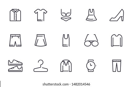 Clothes icons set outline style