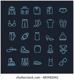 Clothes icons, thin line set
