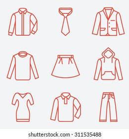 Clothes icons, thin line style, flat design