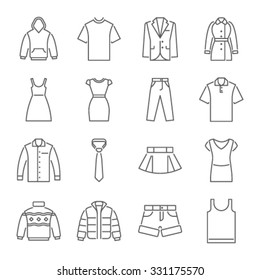 Clothes icons, thin line style
