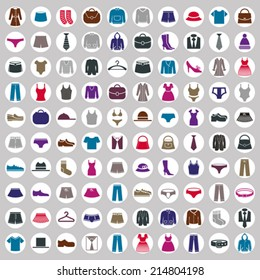Clothes icons vector collection, vector icon set of fashion signs and symbols.