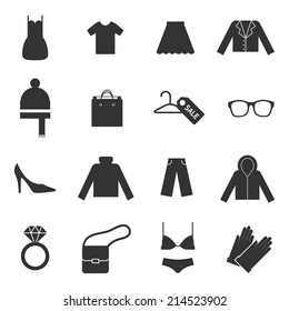 Clothes icons, vector silhouettes