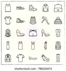 Clothes line icons set hat and stocking