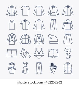 Clothes linear icons. Vector outline clothes icons on white background