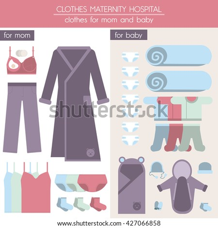Clothes Mom Baby Preparation Childbirth Clothes Stock Vector