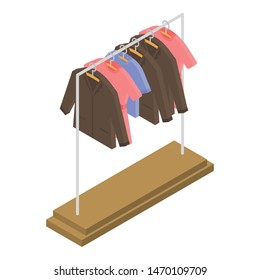 Clothes on hanger icon. Isometric of clothes on hanger vector icon for web design isolated on white background