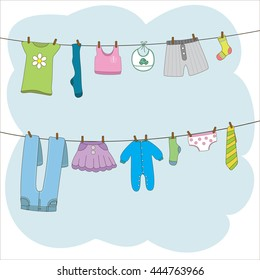 Clothes on clothes line. Vector illustration