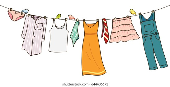 Clothes on washing line isolated on white background