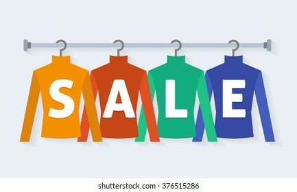 Clothes racks with dresses on hangers. Flat style vector illustration