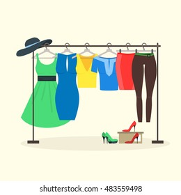 Clothes Racks with Women Wear on Hangers. Flat Design Style of girl clothes set - dress, shoes, pants and skirt. Vector illustration for shop, little rack for clothes with hangers