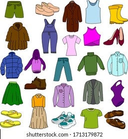 A lot of clothes and shoes. Jacket, fur coat, pants, skirt, t-shirts, sneakers, shoes and swimsuit
