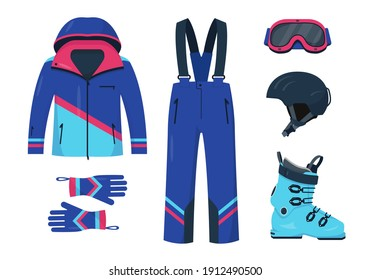 Clothes, shoes, protective helmet and mask for skiing. Bright accessories for winter sport. Set vector illustrations on white background.
