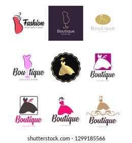 Clothes shop fashion logo vector set design. vector logo clothing - Vector