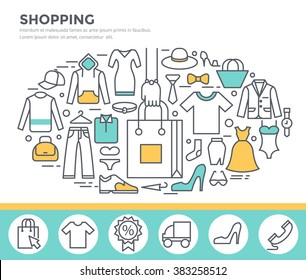 Clothes shopping concept illustration, thin line flat design