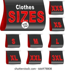 Clothes size labels with embroidered symbols of garment dimensions XXS, XS, S, M, L, XL, XXL, XXXL; Vector set of black icons