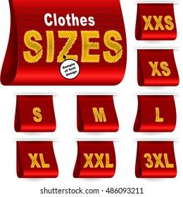 Clothes size labels with standard designation symbols of garment dimensions for customers - XXS, XS, S, M, L, XL, XXL, XXXL; Font of symbols has design embroidered from threads; Red vector set Eps10