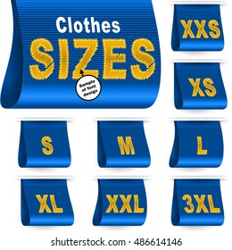 Clothes size labels with standard designation symbols of garment dimensions for customers - XXS, XS, S, M, L, XL, XXL, XXXL; Font of symbols has design embroidered from threads; Blue vector set Eps10