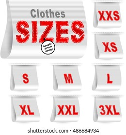 Clothes size labels with standard designation symbols of garment dimensions for customers - XXS, XS, S, M, L, XL, XXL, XXXL; Font of symbols has design embroidered from threads; White vector set Eps10