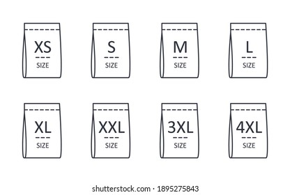 Clothes size vector icons. Editable stroke. Linear symbols S, M, L, XL, XXL 3XL 4XL labels small to extra large. Stock illustration on white background