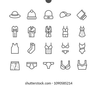 Clothes UI Pixel Perfect Well-crafted Vector Thin Line Icons 48x48 Grid for Web Graphics and Apps. Simple Minimal Pictogram Part 1-5