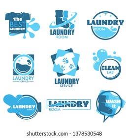 Clothes and washing machine drum laundry service isolated icon vector cleaning laundromat T-shirt and socks emblem or logo bubbles and foam household chore or housekeeping hygiene maintenance