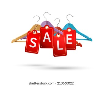Clothes wooden hangers with discount sale text isolated 3d vector illustration