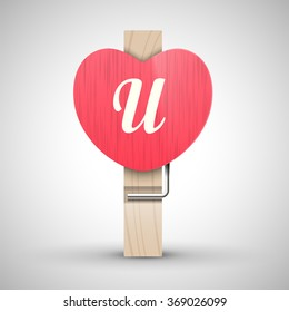 Clothes wooden heart pin with capital letter U vector illustration. Decorative wooden pin best for Valentines day. Alphabet letter.