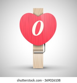 Clothes wooden heart pin with capital letter O vector illustration. Decorative wooden pin best for Valentines day. Alphabet letter.
