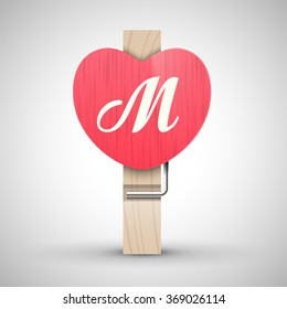 Clothes wooden heart pin with capital letter M vector illustration. Decorative wooden pin best for Valentines day. Alphabet letter.