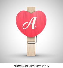 Clothes wooden heart pin with capital letter A vector illustration. Decorative wooden pin best for Valentines day. Alphabet letter.