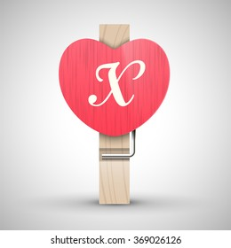 Clothes wooden heart pin with capital letter X vector illustration. Decorative wooden pin best for Valentines day. Alphabet letter.