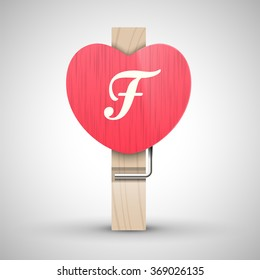 Clothes wooden heart pin with capital letter F vector illustration. Decorative wooden pin best for Valentines day. Alphabet letter.
