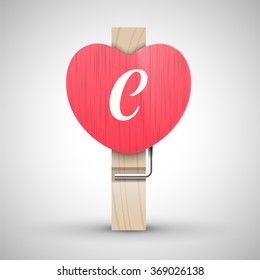 Clothes wooden heart pin with capital letter C vector illustration. Decorative wooden pin best for Valentines day. Alphabet letter.