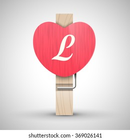 Clothes wooden heart pin with capital letter L vector illustration. Decorative wooden pin best for Valentines day. Alphabet letter.