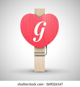 Clothes wooden heart pin with capital letter G vector illustration. Decorative wooden pin best for Valentines day. Alphabet letter.