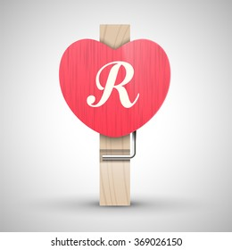 Clothes wooden heart pin with capital letter R vector illustration. Decorative wooden pin best for Valentines day. Alphabet letter.