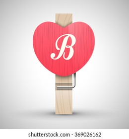 Clothes wooden heart pin with capital letter B vector illustration. Decorative wooden pin best for Valentines day. Alphabet letter.