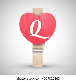 Clothes wooden heart pin with capital letter Q vector illustration. Decorative wooden pin best for Valentines day. Alphabet letter.
