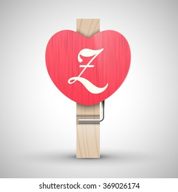 Clothes wooden heart pin with capital letter Z vector illustration. Decorative wooden pin best for Valentines day. Alphabet letter.