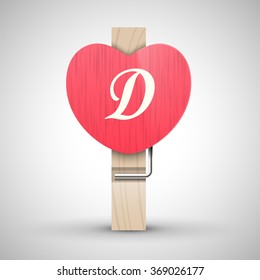 Clothes wooden heart pin with capital letter D vector illustration. Decorative wooden pin best for Valentines day. Alphabet letter.