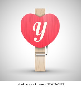 Clothes wooden heart pin with capital letter Y vector illustration. Decorative wooden pin best for Valentines day. Alphabet letter.