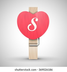 Clothes wooden heart pin with capital letter S vector illustration. Decorative wooden pin best for Valentines day. Alphabet letter.
