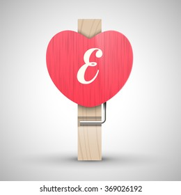 Clothes wooden heart pin with capital letter E vector illustration. Decorative wooden pin best for Valentines day. Alphabet letter.