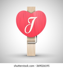 Clothes wooden heart pin with capital letter J vector illustration. Decorative wooden pin best for Valentines day. Alphabet letter.