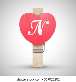 Clothes wooden heart pin with capital letter N vector illustration. Decorative wooden pin best for Valentines day. Alphabet letter.