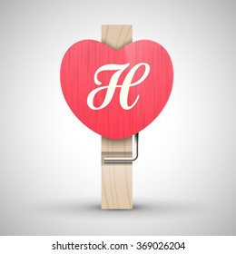 Clothes wooden heart pin with capital letter H vector illustration. Decorative wooden pin best for Valentines day. Alphabet letter.