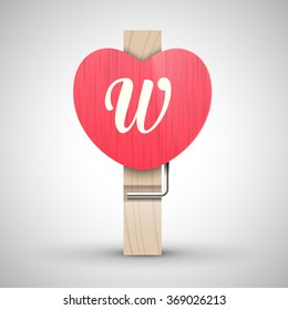 Clothes wooden heart pin with capital letter W vector illustration. Decorative wooden pin best for Valentines day. Alphabet letter.