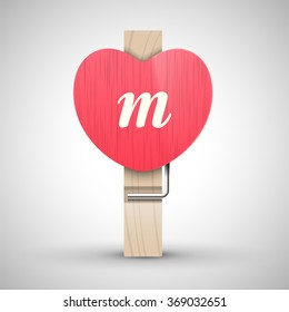 Clothes wooden heart pin with lowercase letter m vector illustration. Decorative wooden pin best for Valentines day. Alphabet letter.